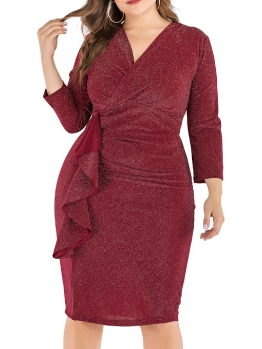 Plus Size Knee-Length Pleated Nine Points Sleeve V-Neck Bodycon Women's Dress
