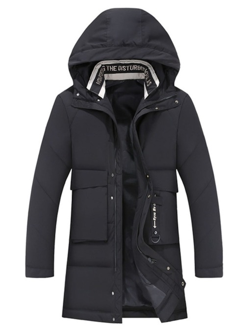 Patchwork Mid-Length Hooded Plain Men's Down Jacket