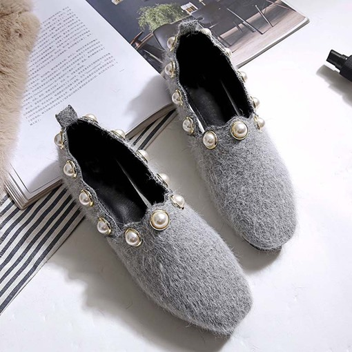 Slip-On Round Toe Beads Fluffy Winter Flats