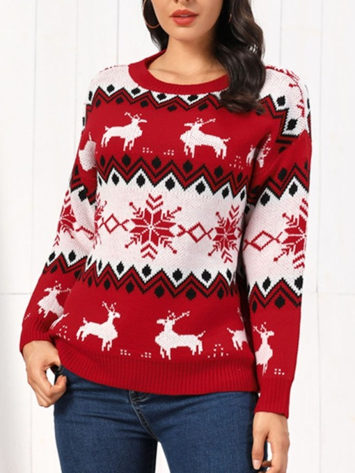 Regular Round Neck Christmas Women's Sweater