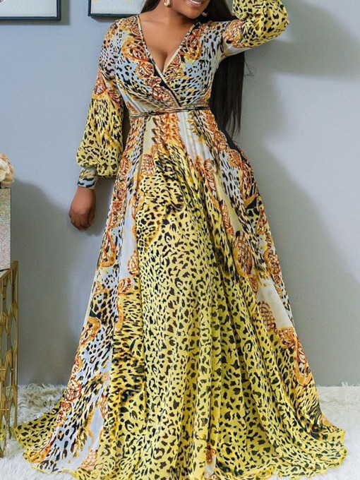 Floor-Length Print V-Neck Long Sleeve Pullover Women's Dress