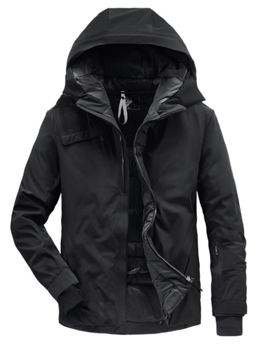 Hooded Standard Plain Men's Slim Down Jacket