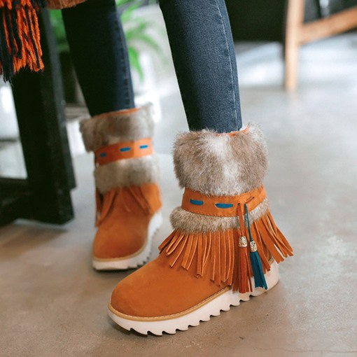 Round Toe Platform Slip-On Patchwork Cotton Snow Boots