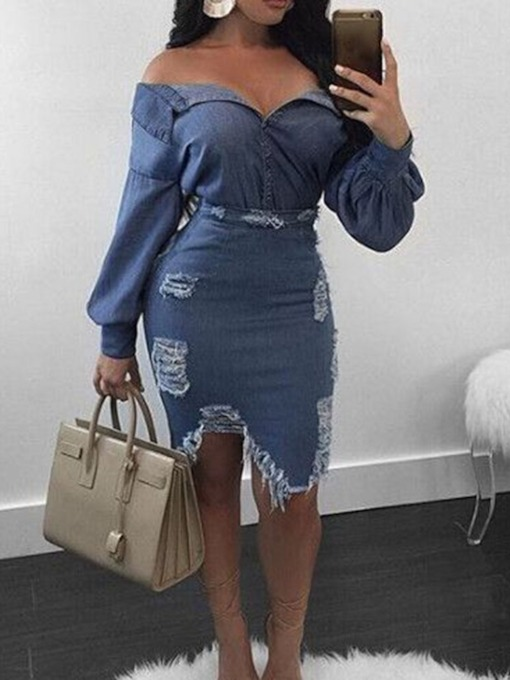 Off Shoulder Sexy Plain Single-Breasted Women's Two Piece Sets