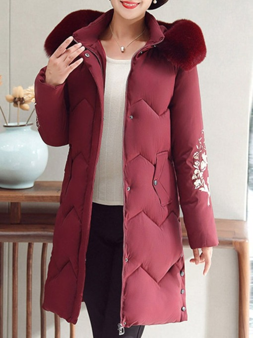 Plus Size Thin Zipper Straight Patchwork Mid-Length Women's Cotton Padded Jacket