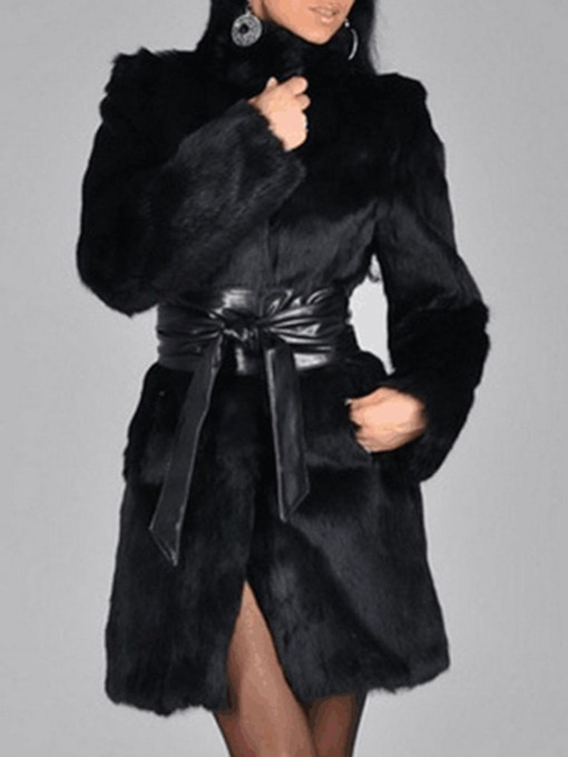 Mid-Length Plain Loose Fashion Women's Faux Fur Overcoat