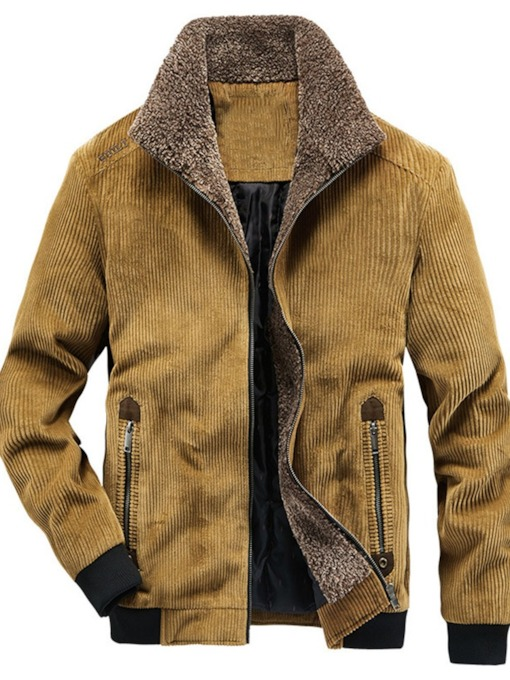 Lapel Zipper Thick Color Block Men's Jacket