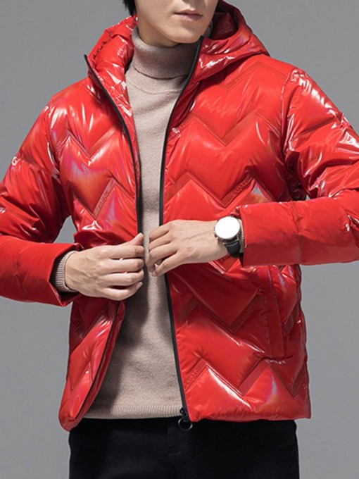 Standard Zipper Plain Hooded European Men's Down Jacket