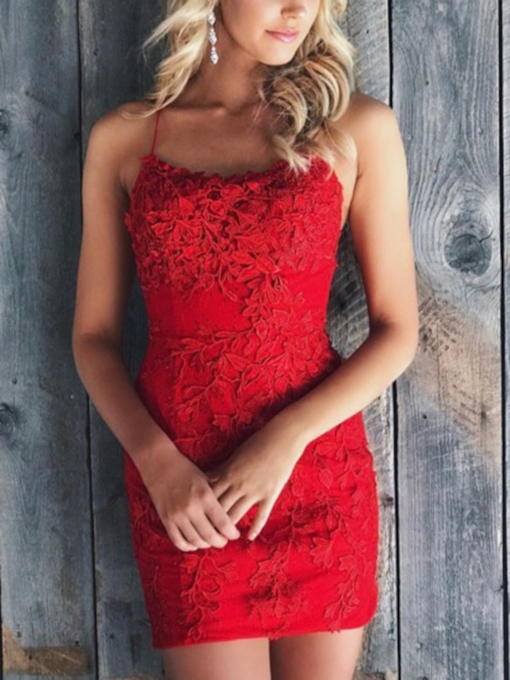 Spaghetti Straps Sheath Lace Red Cocktail Dress 2020