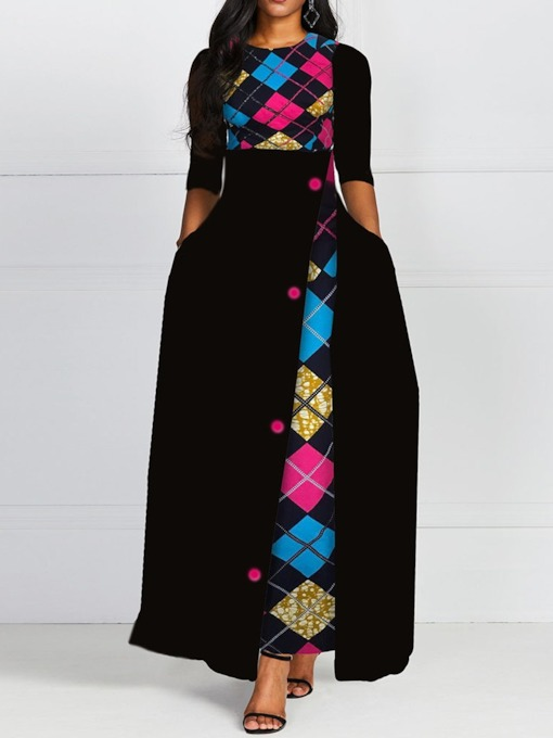 Print Round Neck Floor-Length Half Sleeve Color Block Women's Dress