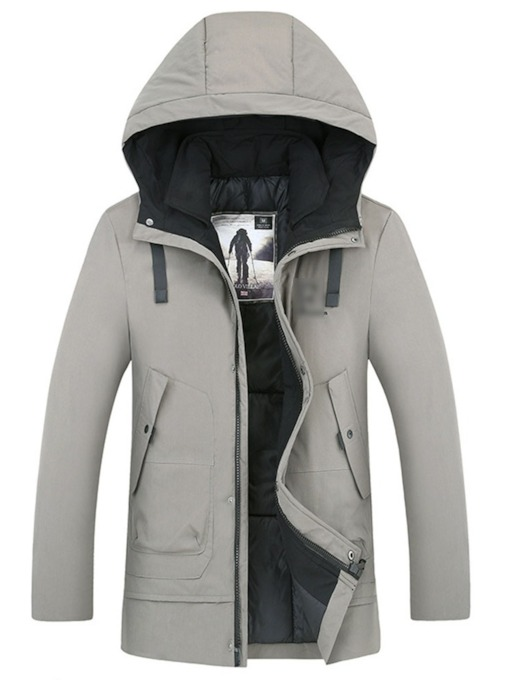 Mid-Length Hooded Color Block Men's Slim Down Jacket