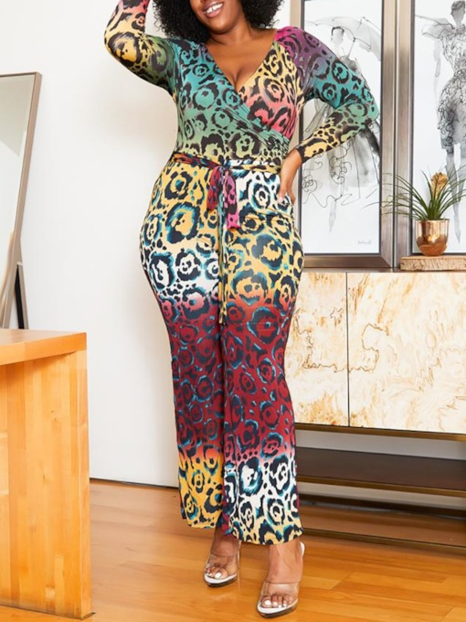 Plus Size Print Color Block Casual Full Length Slim Women's Jumpsuit