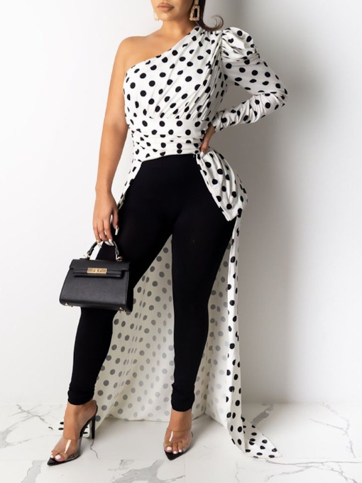 Polka Dots Long Sleeve Women's Blouse
