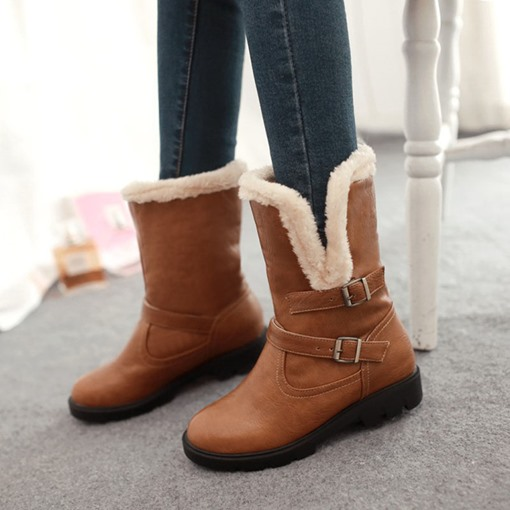 Round Toe Plain Slip-On Block Heel Casual Snow Boots