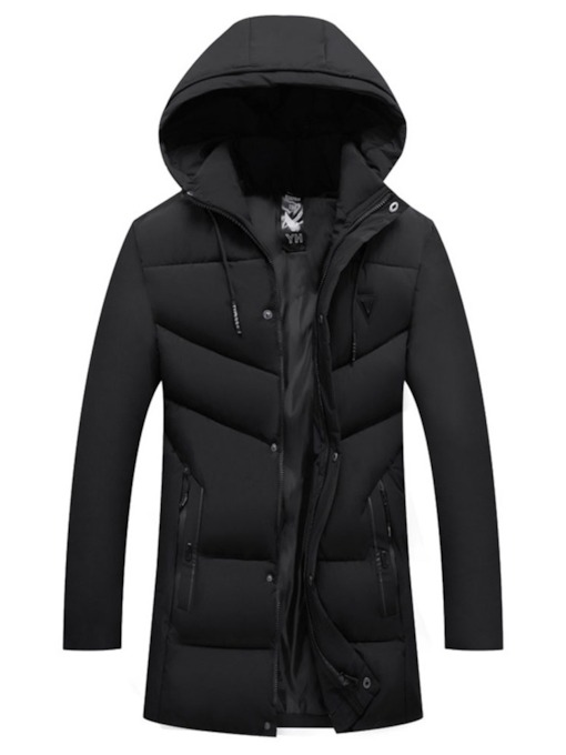 Mid-Length Hooded Patchwork Plain Casual Men's Down Jacket