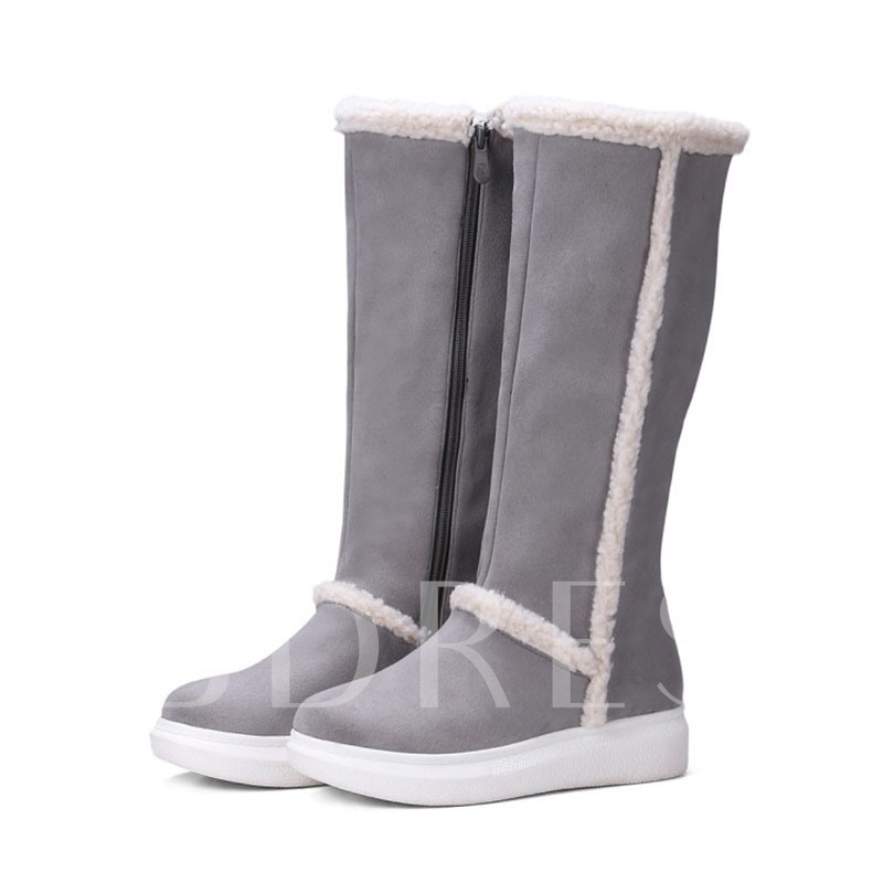 Round Toe Side Zipper Color Block Platform Knee High Boots
