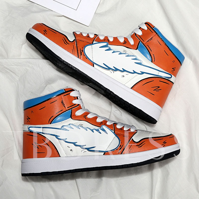 Lace-Up High Top Cartoon Print Men's Sneakers