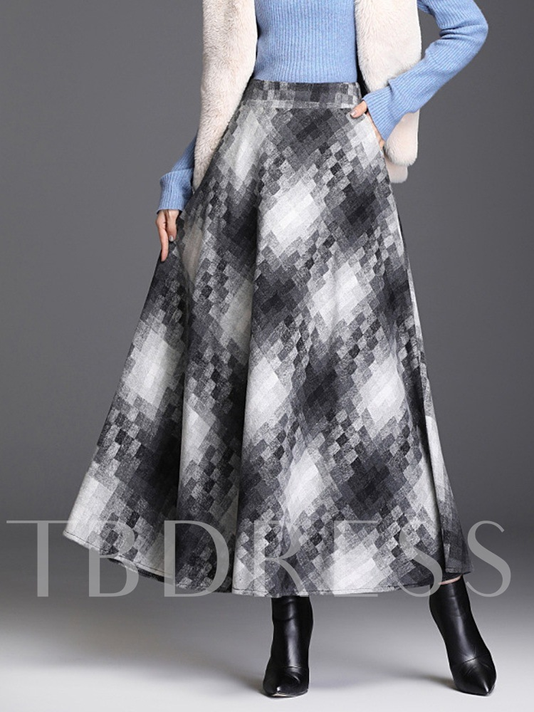 Ankle-Length Plaid A-Line Casual Women's Skirt