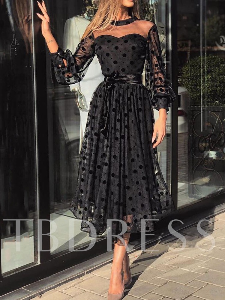 Mid-Calf Round Neck Nine Points Sleeve See-Through Polka Dots Women's Dress