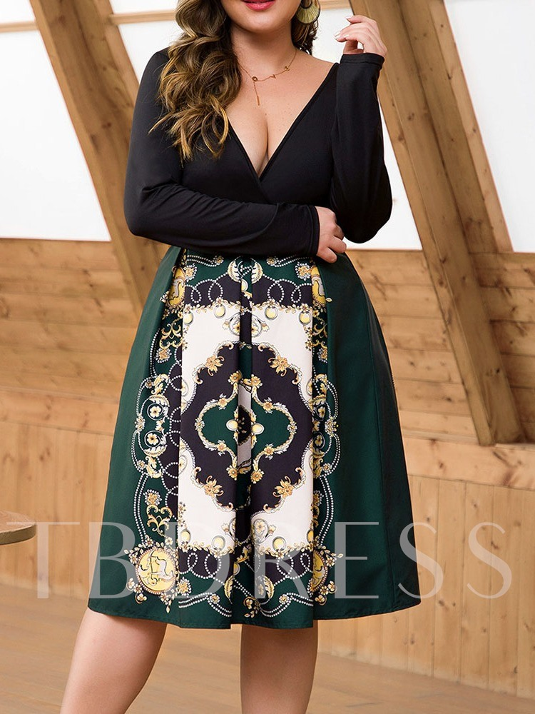 Plus Size Patchwork Mid-Calf V-Neck Long Sleeve Pullover Women's Dress