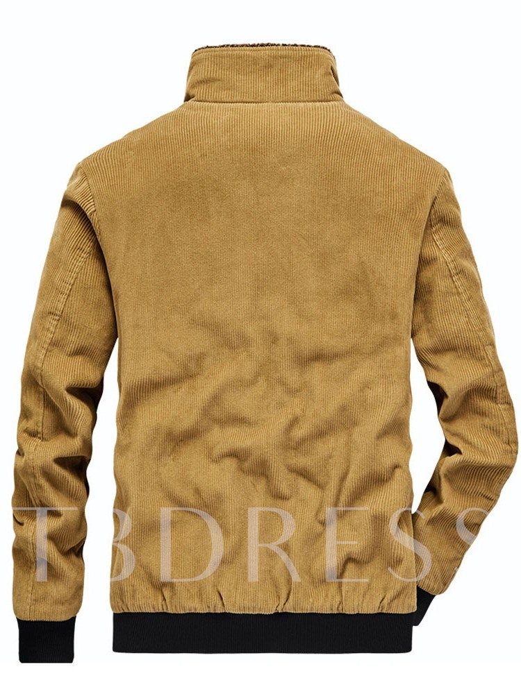 Thick Lapel Zipper Color Block European Men's Jacket