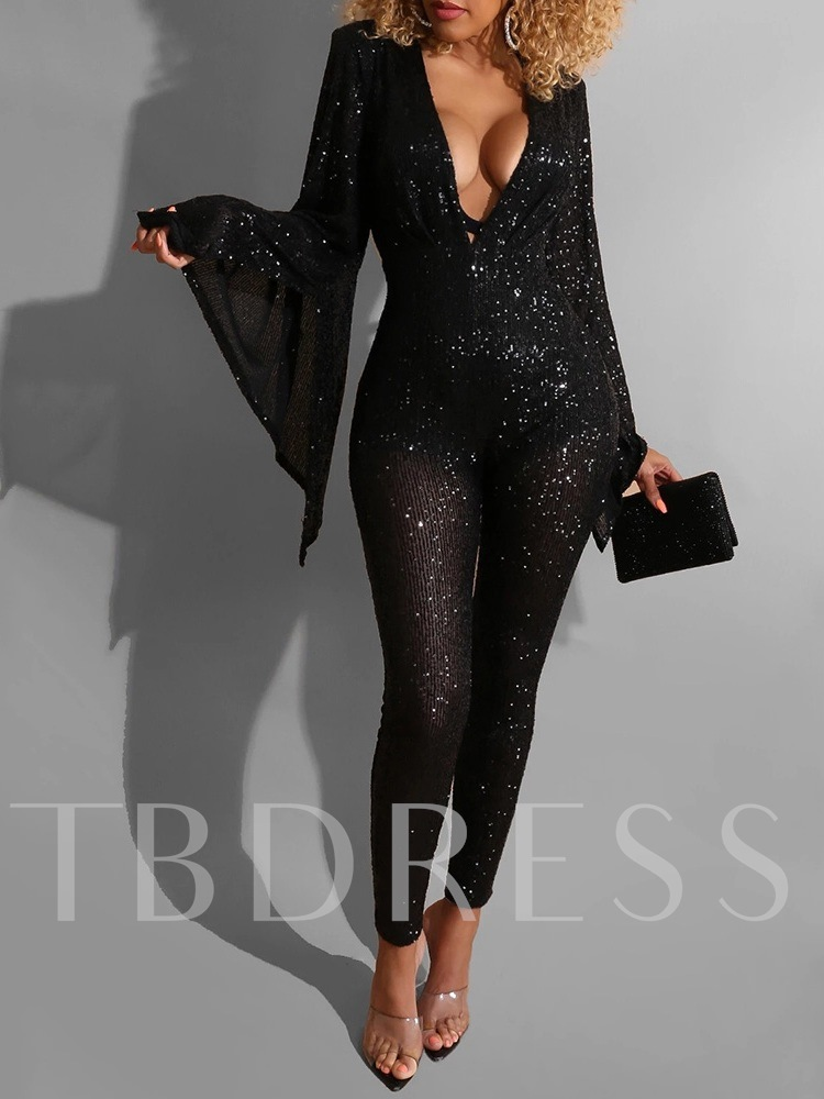 Plain Sequins Sexy Ankle Length Women's Jumpsuit