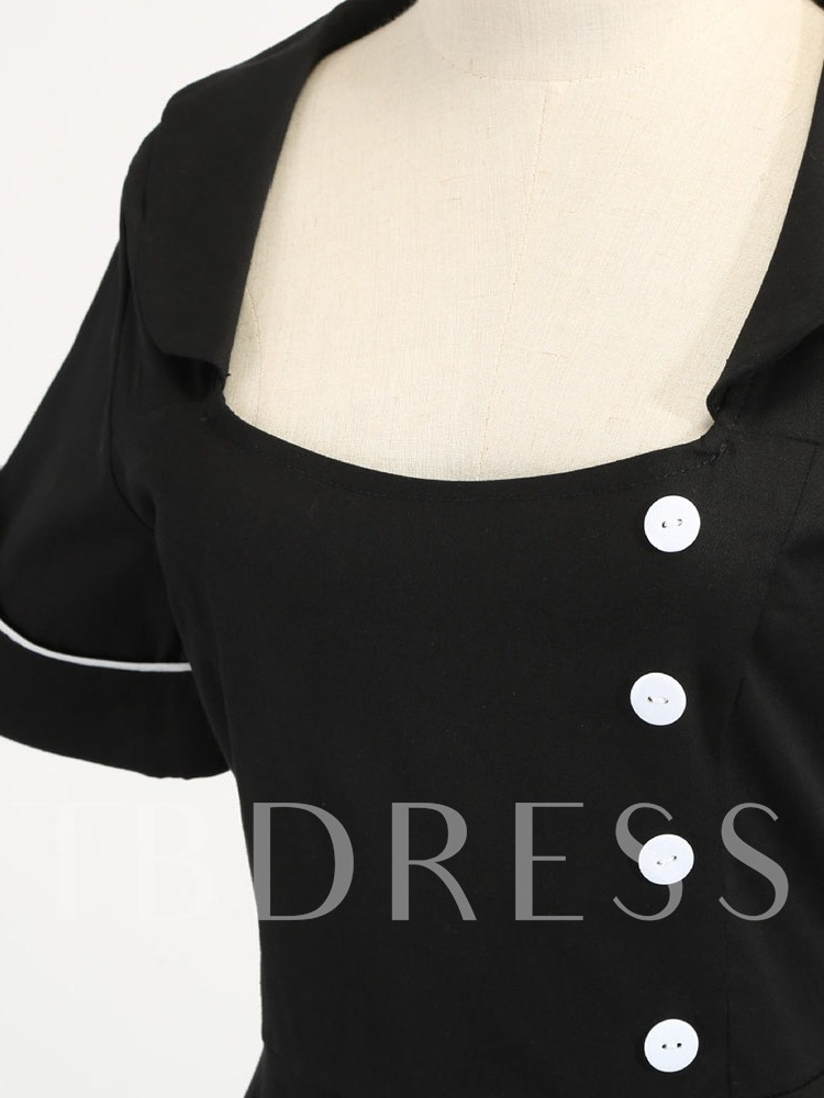 Button Square Neck Mid-Calf Short Sleeve Pullover Women's Dress