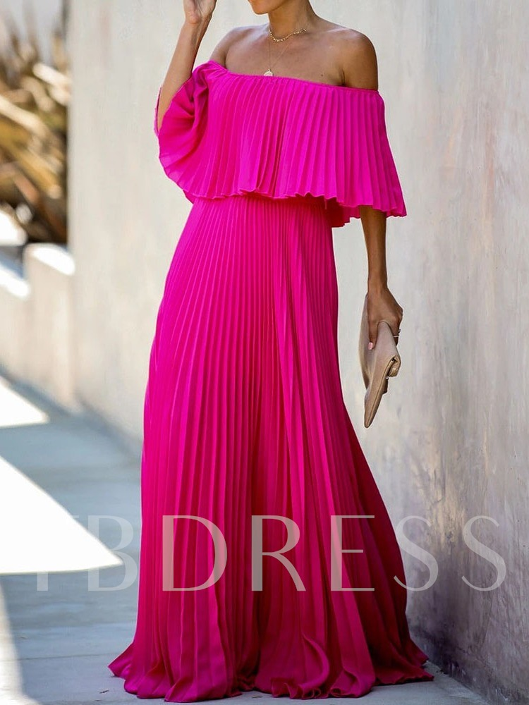 Three-Quarter Sleeve Floor-Length Off Shoulder Pleated Plain Women's Dress
