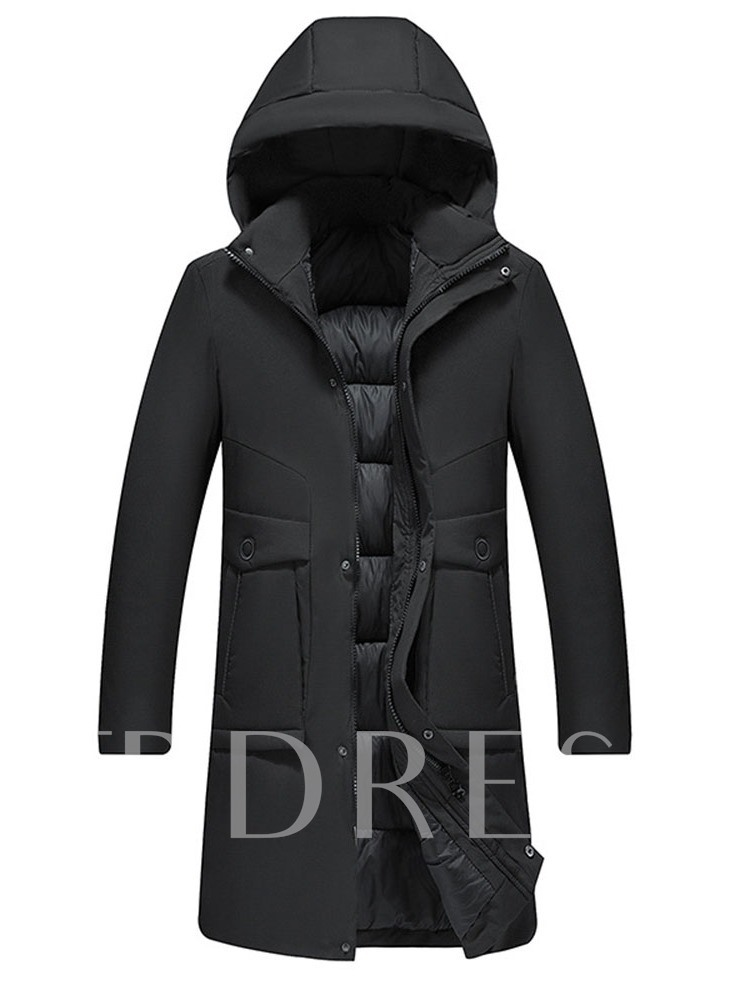 Long Plain Hooded Zipper Men's Down Jacket