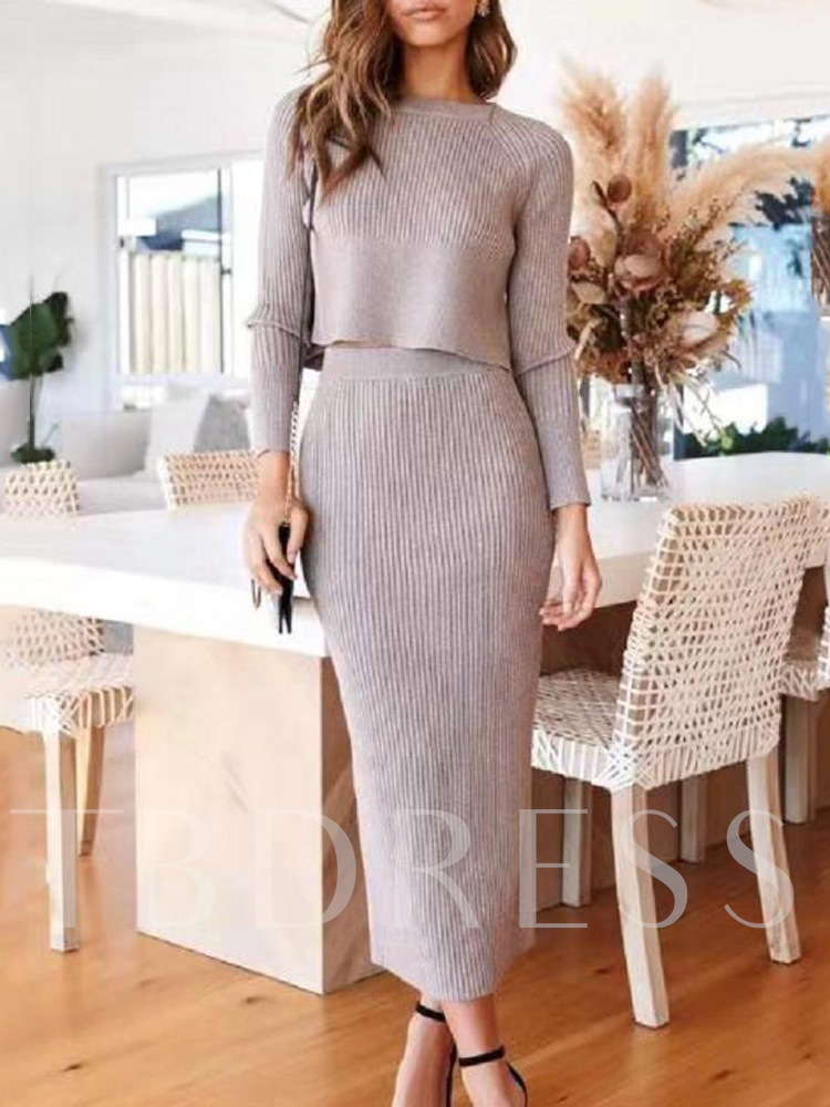 Elegant Plain Pullover Women's Two Piece Sets