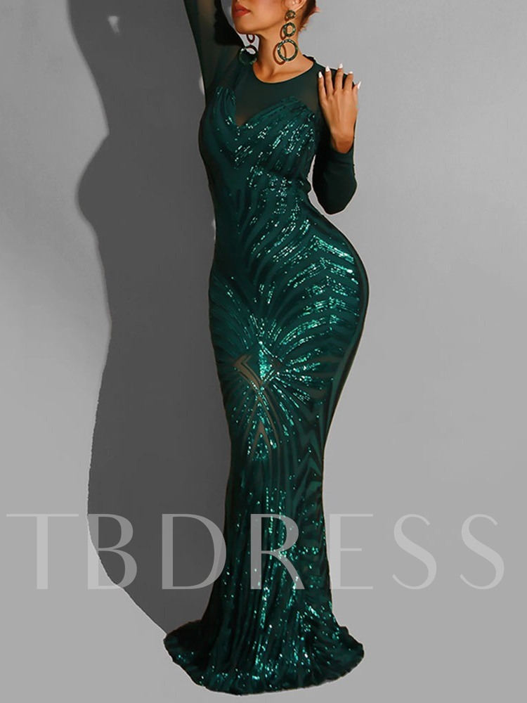 Sequins Round Neck Floor-Length Long Sleeve Regular Women's Dress
