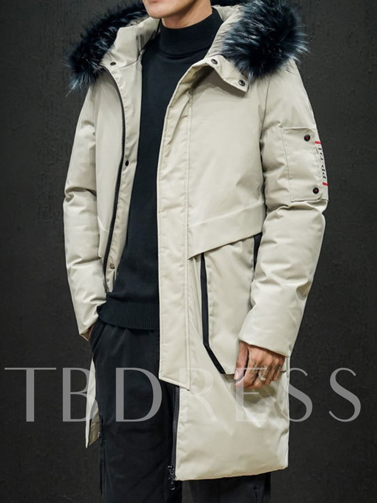 Color Block Hooded Mid-Length Zipper Korean Men's Down Jacket