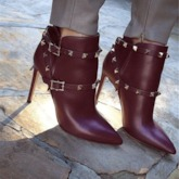 Customized Stiletto Heel Pointed Toe Hasp Rivet Ankle Boots
