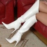 Customized Back Zip Pointed Toe Knee High Boots