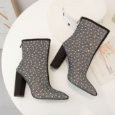 Back Zip Pointed Toe Rhinestone Chunky Heel Ankle Boots