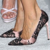 CustomizedPointed Toe Stiletto Heel Slip-On Lace Banquet Pumps