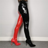 Slip-On Patchwork Pointed Toe Thigh High Boots