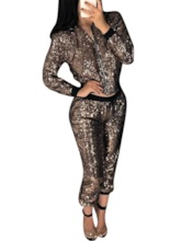 Casual Color Block Sequins Round Neck Women's Two Piece Sets