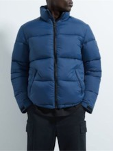 Color Block Standard Stand Collar Casual Men's Down Jacket