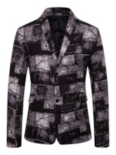 Casual Single-Breasted Color Block Notched Lapel Men's Leisure Blazers