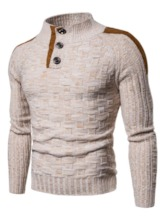 Patchwork Color Block Stand Collar Slim Men's Sweater