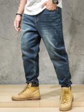 Pocket Color Block Waist Men's Jeans