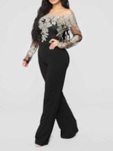 Plus Size Lace Fashion Off Shoulder Wide Legs Full Length Women's Jumpsuit