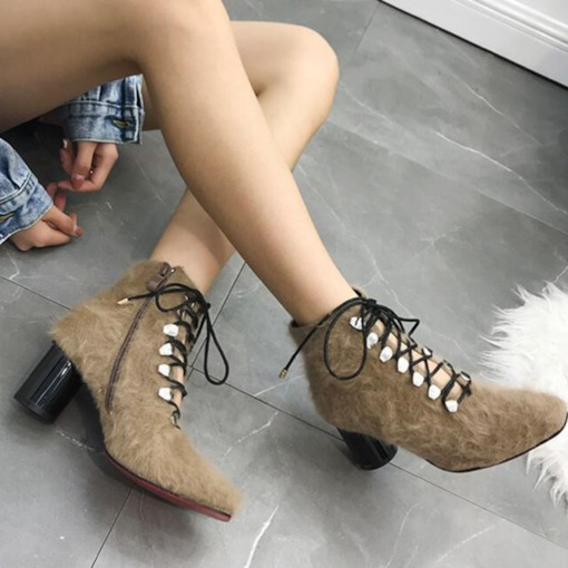 Square Toe Plain Chunky Heel Side Zipper Fluffy Ankle Boots