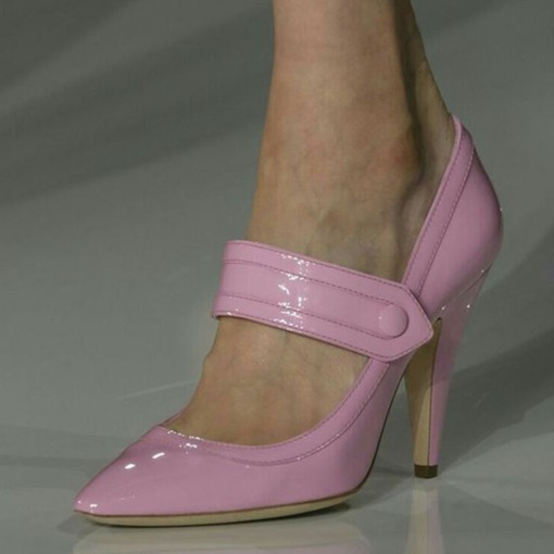 Slip-On Pink Pointed Toe Spool Heel Fashion Pumps