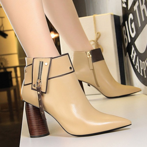 Color Block Side Zipper Pointed Toe Chunky Heel Ankle Boots