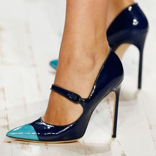 Pointed Toe Buckle Stiletto Heel Color Block Pumps