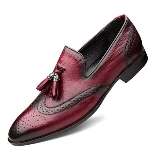 Slip-On Low-Cut Upper Round Toe Tassel Elegant Men's Dress Shoes