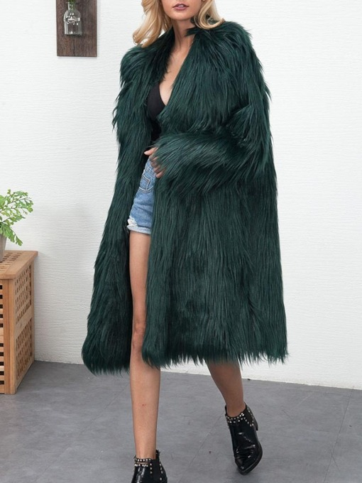 Regular Long Plain Faux Fur Women's Faux Fur Overcoat