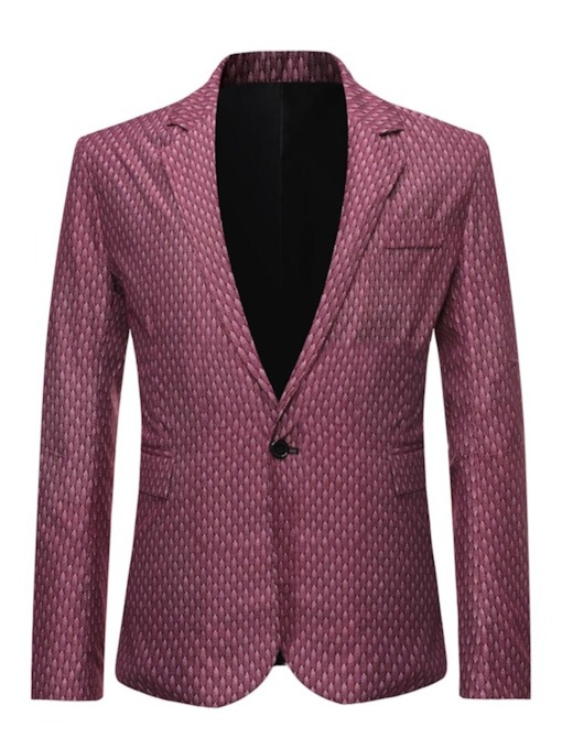 Casual Button Slim Notched Lapel Men's Leisure Blazers